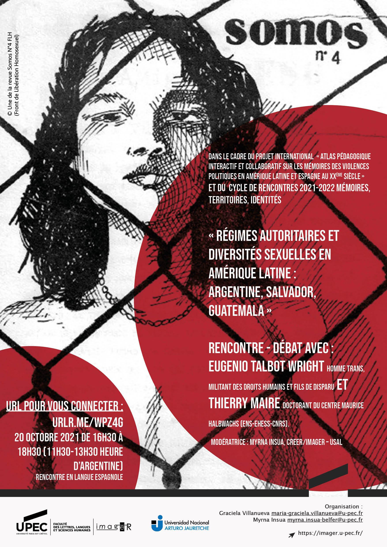 """Affiche rencontre - débat """"Régimes autoritaires et diversités sexuelles en Amérique Latine : Argentine, Salvador, Guatemala"""""""